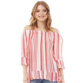 Onfire Womens Bardot Stripe Flare Cuff Tunic White/Red