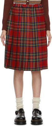COMME DES GARÇONS GIRL Red Wool Tartan Midi Skirt