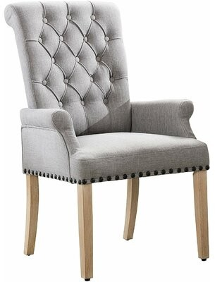 Canora Grey Roberge Tufted Linen Upholstered Arm Chair Canora Grey Upholstery Color: Gray