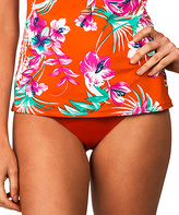 Leilani Orange Shirred Bikini Bottoms