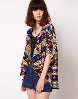 Band of Gypsies Kimono Jacket In Graphic Traveller Print