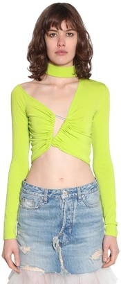 Unravel Cropped Asymmetric Stretch Jersey Top