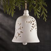 Crate & Barrel Porcelain Snowflake Bell Ornament