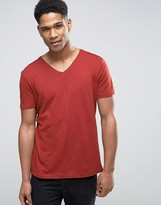 Sisley V-neck T-shirt In Slub