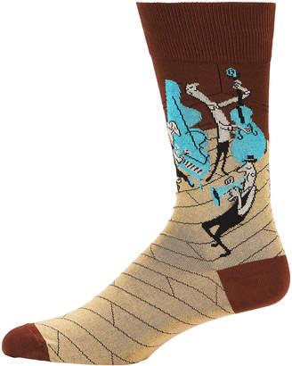 Bugatchi Men's Jazz Printed Crew Socks