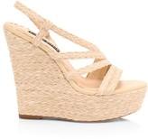 Tenley Raffia & Leather Platform Wedge Sandals
