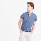 Short-sleeve Band-collar Shirt In Indigo Irish Linen
