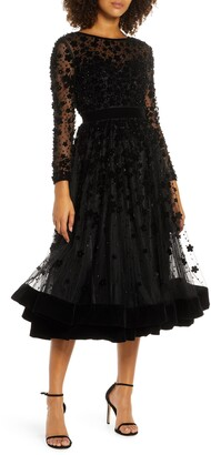 Mac Duggal Long Sleeve Fit & Flare Velvet Embellished Cocktail Dress