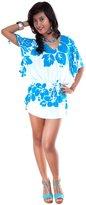 La Fleva 1 World Sarongs Womens Triple Lei Swim Cover-Up Top X-Large Turquoise/White