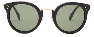 Celine Round Acetate And Metal Sunglasses - Black