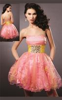 Blush Lingerie Embellished Straight Neck Curled A-line Dress 9123