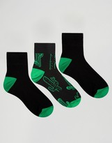 Asos Ankle Length Socks With Cactus Design 3 Pack