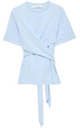 Cédric Charlier Wrap-effect Gathered Cotton-jersey T-shirt