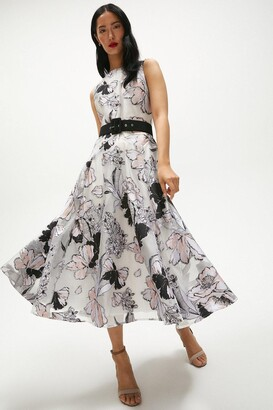 Coast Floral Jacquard Full Skirt Midi Dress