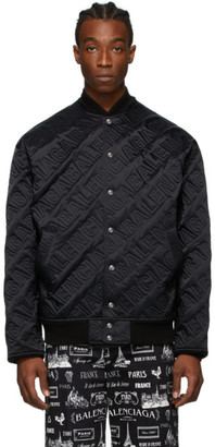 Balenciaga Black Embroidered Logo Bomber Jacket