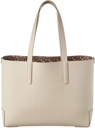 Burberry Monogram Embossed Leather Tote