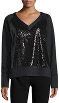 Donna Karan Long-Sleeve Embellished-Front Sweatshirt, Black