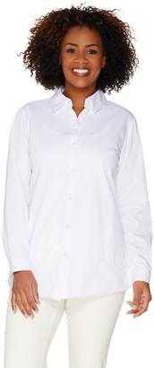 Joan Rivers Classics Collection Joan Rivers Lightweight Denim Boyfriend Shirt with Fringe Hem