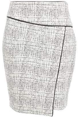 DKNY Faux Leather-trimmed Jacquard-knit Cotton-blend Mini Skirt