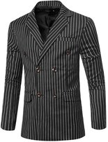uxcell® Men Padded Shoulder Double Breasted Striped Slim Fit Blazer M