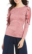 Soulmates Long-Sleeve Lace Shoulders Knit Top
