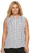 Dana Buchman Plus Size Pintuck Striped Blouse