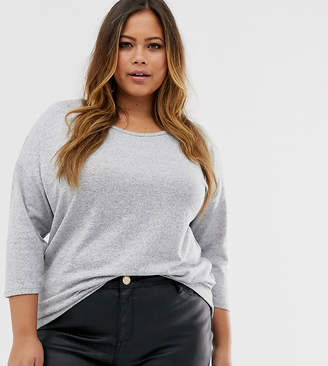 Vero Moda Curve 3/4 sleeve jersey top in grey
