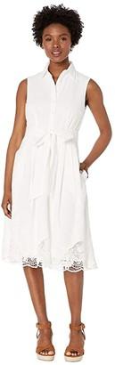 Tahari ASL Petite Sleeveless Button Front Shirtdress w/ Embroidery (White) Women's Dress