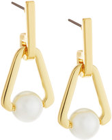Rebecca Minkoff 12k Gold-Plated Small Triangular Pearly Bead Drop Earrings