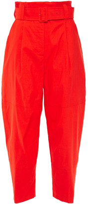 A.L.C. Cropped Belted Pleated Linen-blend Tapered Pants