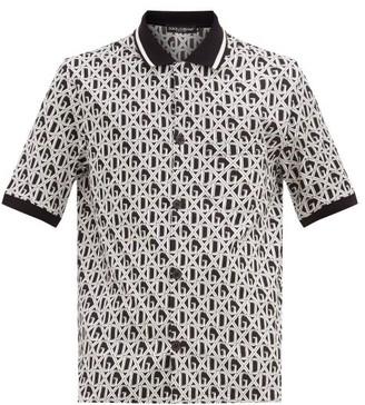 Dolce & Gabbana Monogram-lattice Cotton-jersey Shirt - White Black