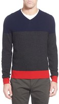 AG Jeans Men's Green Label 'Admiral' Colorblock Wool & Cashmere V-Neck Sweater