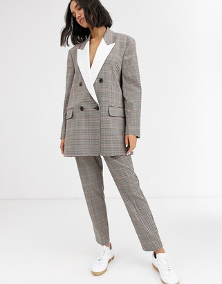 ASOS DESIGN check tux slim suit pants
