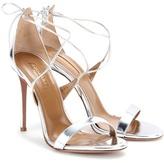 Aquazzura Linda 105 Metallic Leather Sandals