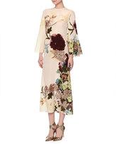 Valentino Floral-Print Bell-Sleeve Silk Capelet Dress, Milk