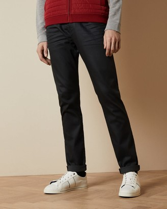 Ted Baker Printed Hem Tapered Cotton Jeans