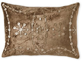 cloud 9 Light Brown Velvet Oblong Pillow with Embellished Front