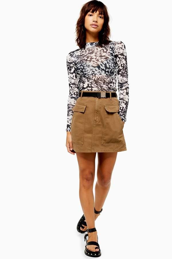 Topshop Womens Khaki Clip Buckle Denim Mini Skirt - Khaki