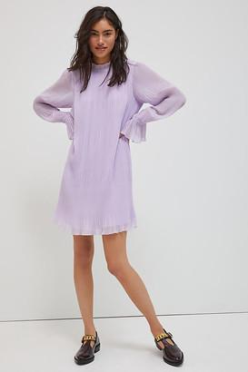 Daniel Rainn Monika Plisse Swing Mini Dress By in Purple Size XS