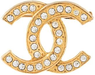 Chanel Pre Owned rhinestone-embellished CC logo brooch