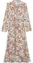 Maje Asymmetric Pussy-Bow Floral-Print Crepe Midi Dress