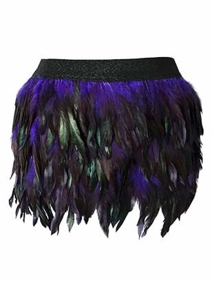 iiniim Women's Mini Skirts Sexy Feather Bodycon Club Cocktail Party Short Dresses Miniskirt Black L