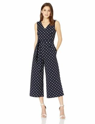Calvin Klein Women's Sleeveless V Neck Jumpsuit with Self Sash Waist