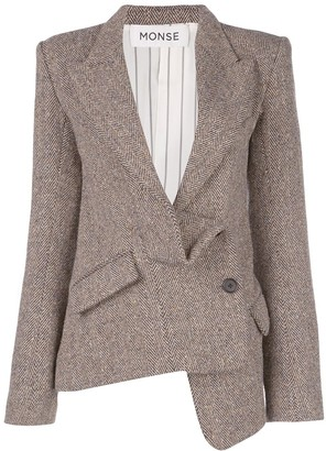 Monse Herringbone Off-Centre Button Blazer