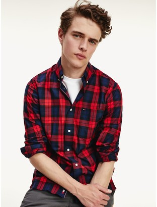 Tommy Hilfiger Regular Fit Plaid Stretch Cotton Shirt