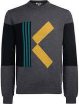 Kenzo grey wool K contrasting jumper Grey
