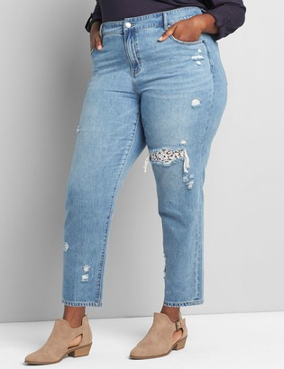 Lane Bryant Signature Fit Girlfriend Straight Jean - Lace-Backed Ripped Light Wash
