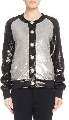 Balmain Button-Front Bicolor Paillette Sequin Baseball Jacket