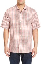Tommy Bahama 'Verdara Check' Original Fit Short Sleeve Silk Sport Shirt