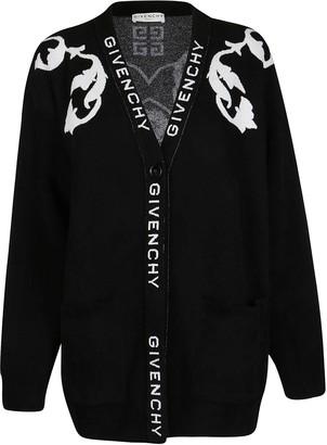 Givenchy Logo Intarsia V-Neck Cardigan